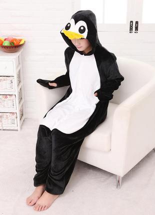 Кигуруми пижама цельная пингвин женская пижамка мужская теплая пижамка