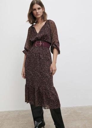 Zara платье миди в наличии c поясом