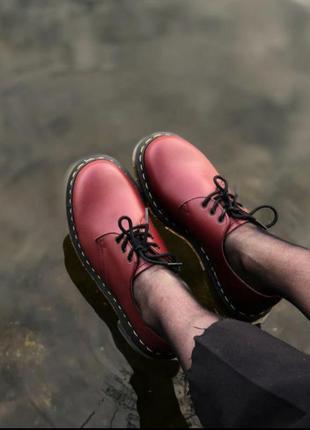 Туфли оксфорды броги dr. martens 1461 cherry red smooth