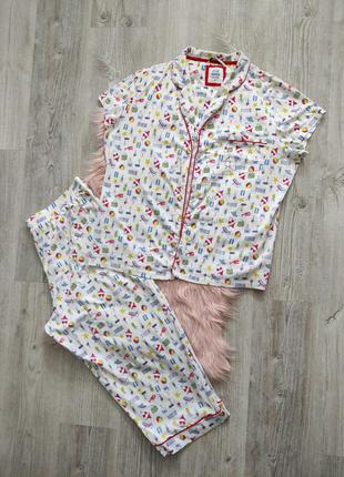 Хлопковая пижама домашний костюм бриджи и рубашка с коротким рукавом коктейль