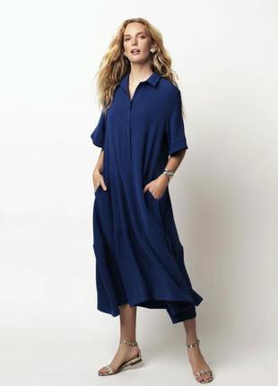 Темно-синее платье,рубашка с карманами,canda