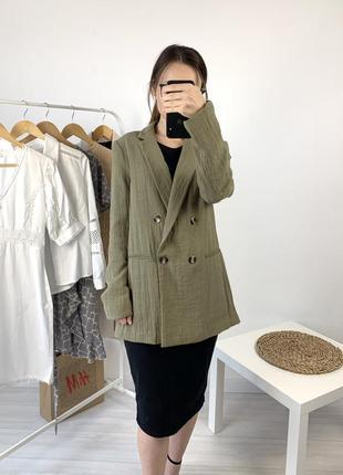 Двубортный пиджак удлинённый h&m