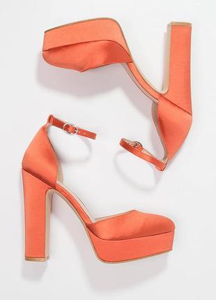 Бомбезные ярко оранжевые (коралловые) туфли из сатина even&odd
