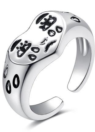 Регулируемое кольцо колечко принт сердце сердечко слёзы глаза серебряное панк мода акция тренд новинка