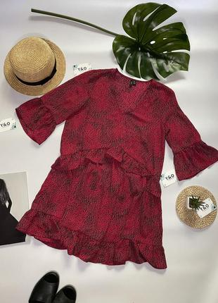 Трендовое очень красивое платье в горошек с рюшами в идеальном состоянии 🖤vero moda 🖤