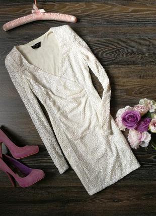 Жемчужное платье в пайетки 125907 ax paris размер uk10 (s/m) белое платье на новый год