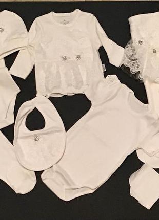 Комплект для новорожденного в роддом или для крестин. турция