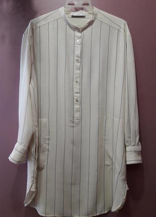 Удлиненная рубашка кремоаого цвета