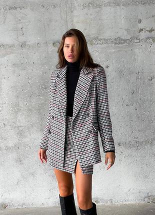 Костюм двойка с пиджаком жакетом и юбкой мини
