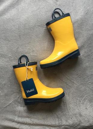 Фирменные новые резиновые жёлтые сапоги hatley