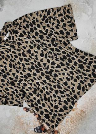 Блуза рубашка плотная в тигровый принт mango l