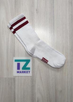 Белые высокие женские носки с полосками 35-42 amiga