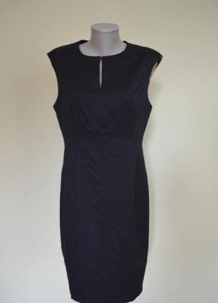 Шикарное брендовое классическое базовое черное шерстяное платье-карандаш шерсть 62% ted baker