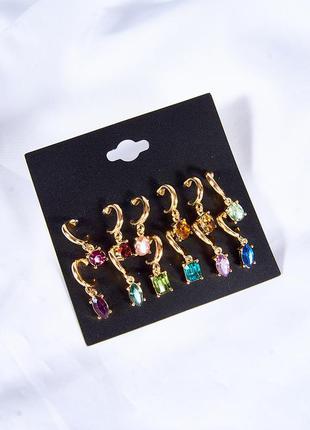 Набор сережек 12 шт, женские сережки, серьги с подвеской, вечерние серьги