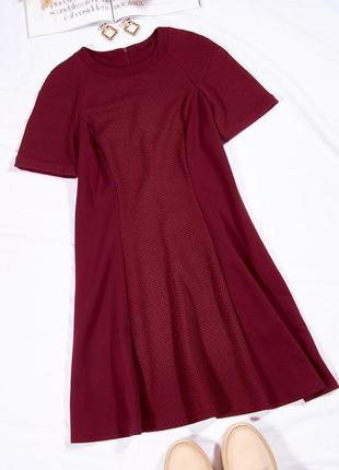 Бордовое платье трикотажное, классическое платье базовое, тепла сукня