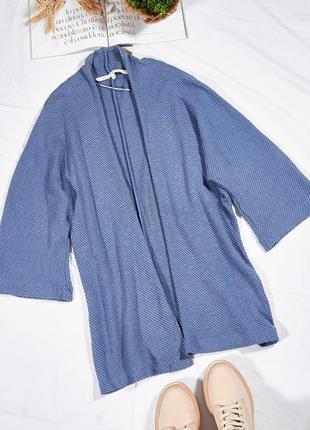 Теплый вязаный кардиган, женский кардиган, женская длинная кофта синяя, теплая кофта