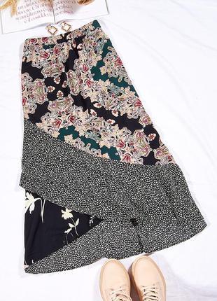 Ассиметричная длинная юбка, трендовая юбка миди, стильная юбка