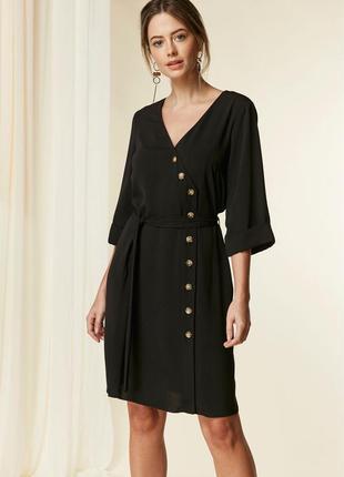 Черное платье на пуговицах,под пояс,george