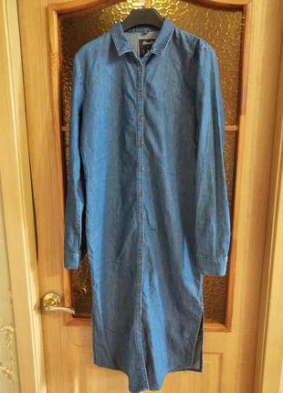 Джинсовое платье рубашка с длинным рукавом