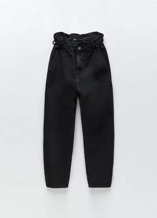 Оригинальные джинсы zara зара на высокой посадке чёрные