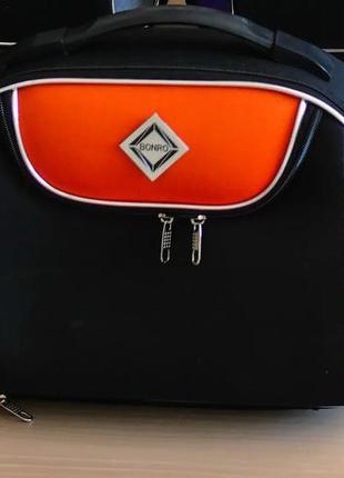 Кейс дорожный тканевый средний xs bonro style (черно-оранжевый / dark orange)