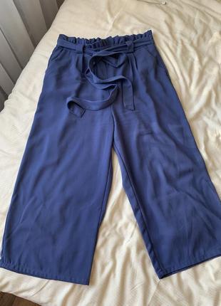 Синие штаны кюлоты летние легкие