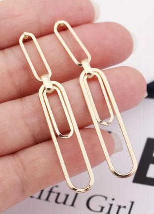 Серьги скрепки стильные сережки в виде скрепки