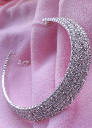 Чокер блестящий широкий серебристый с камнями стразы,колье,ожерелье,цепочка,цепь,ланцюжок