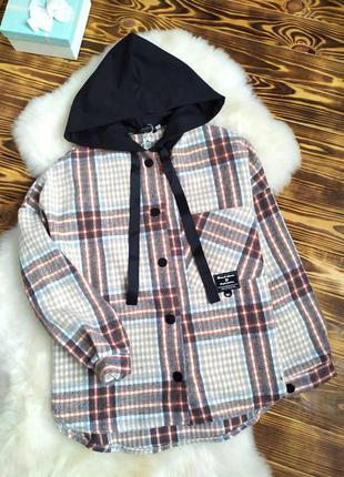 Тепла сорочка, з капюшоном, стиль оверсайз