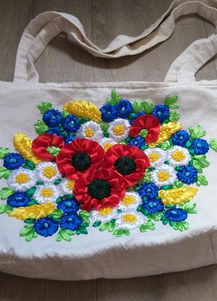 Сумка вышивка лентами цветы