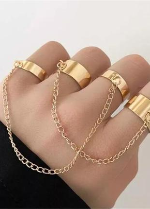 4 кольца на цепях в стиле панк рок хип-хоп гот набор колец