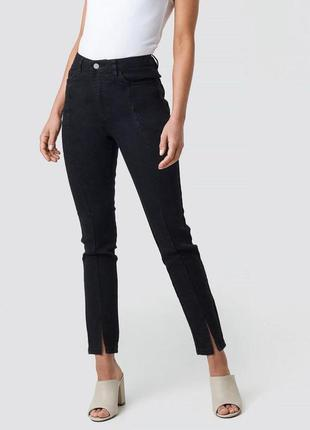 Базовые черные скини джинсы с разрезами