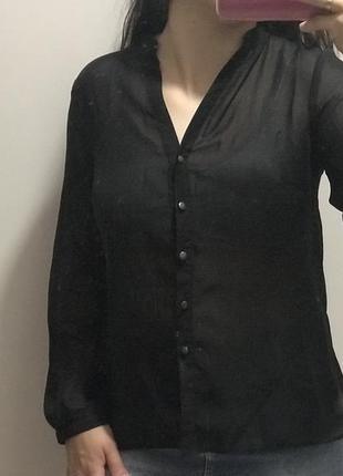 Прозрачная чёрная блуза
