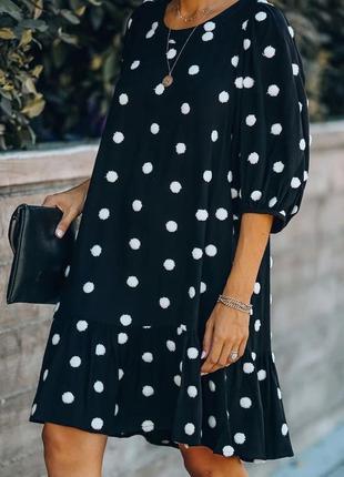 Черное платье в горох,большой размер