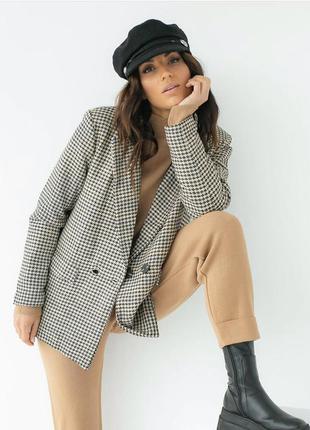 Пиджак с узором гусиная лапка шерстяной теплый
