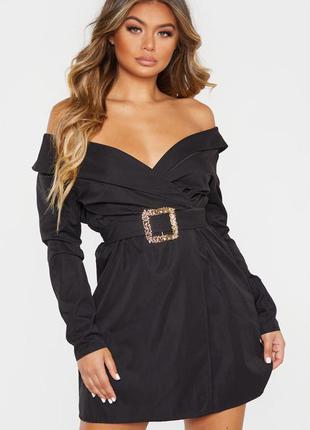 Платье пиджак с поясом. нарядное чёрное платье. блейзер