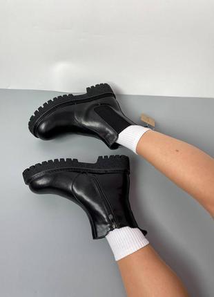 ❄️ кожаные челси зимние женские ботинки ❄️