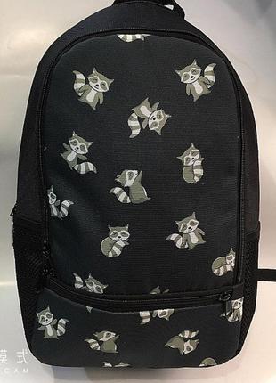 Новый рюкзак с енотами, городской черный портфель