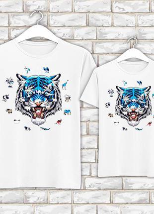 Футболки парные с новогодним принтом синий тигр. силуэты животных push it фп007821