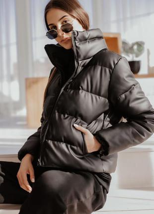 Женский пуховик из кожзама куртка осенняя укороченная