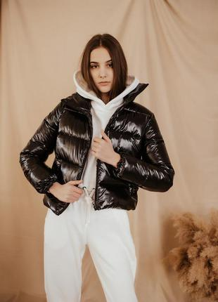 Женская осенняя куртка укороченная пуховик короткий женский