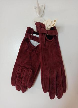 Кожаные перчатки цвета бургунди primark