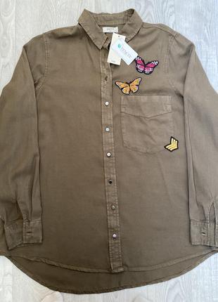 Рубашка, рубашка с длинным рукавом, модная с нашивками рубашка, винтажная рубашка