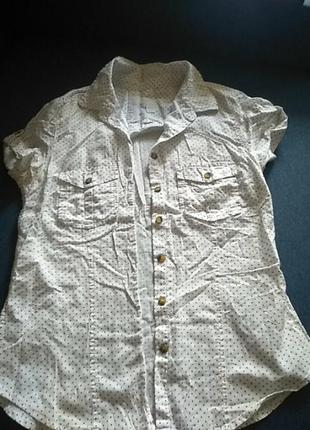H&m белая летняя блузка в точку натуральная хлопковая