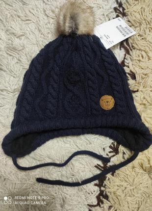Теплая шапка шапуля с завязками и натуральным булубоном h&m на 1-2 года