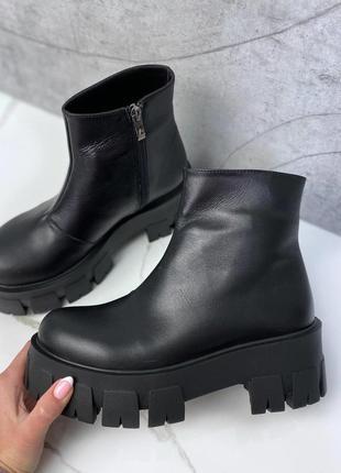 Кожаные демисезонные ботинки, женские кожаные ботинки на платформе, ботінки шкіряні 36-40р код 8641