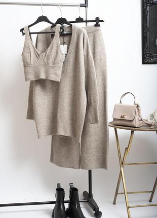 Новый теплый трикотажный шерстяной брючный костюм тройка брюки палаццо/ вязаный топ / свитер zara