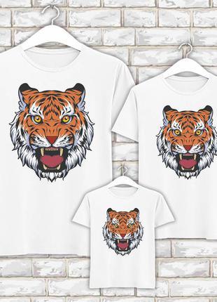Футболки новогодние фэмили лук family look для всей семьи голова тигра push it фп007835