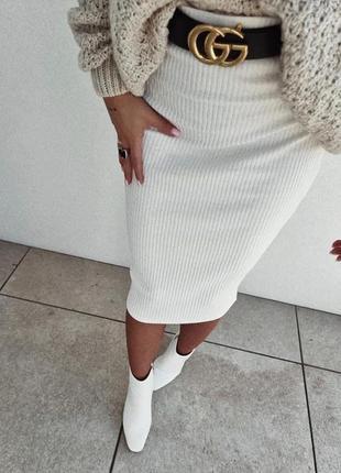Женская юбка карандаш трикотаж рубчик