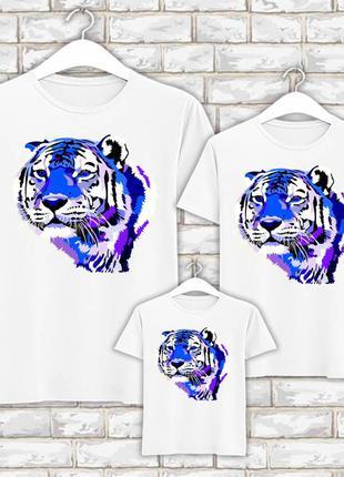 Футболки новогодние фэмили лук family look для всей семьи синий тигр push it фп007837